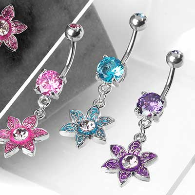 Filigree Flower Dangle Navel