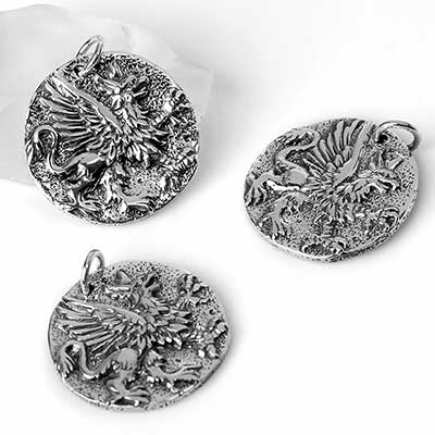 Silver Gryphon Coin Pendant