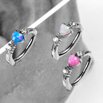 Opal Heart Rook Clicker Ring