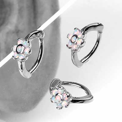 Opal Flower Rook Clicker Ring