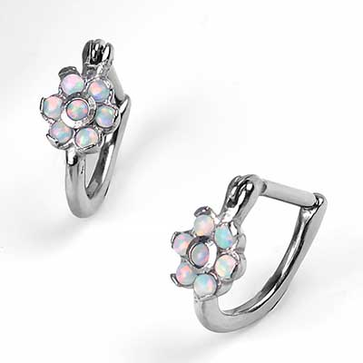 Side Set Opal Flower Ring