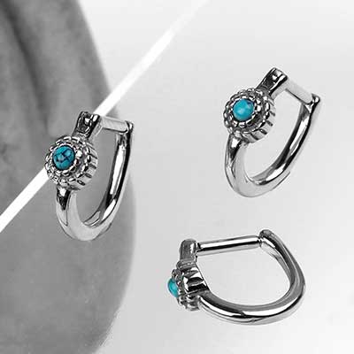 Side Set Beaded Turquoise Clicker Ring