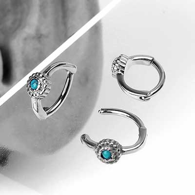 Beaded Turquoise Rook Clicker Ring