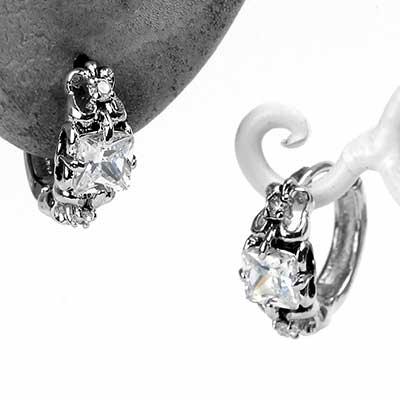 Princess Cut Gem Huggie Earring