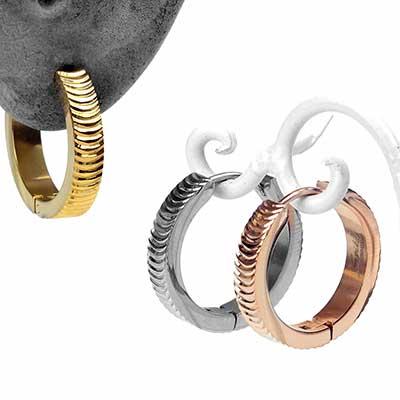 Grooved Huggie Earring