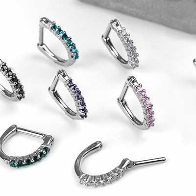 Side-Set Gemmed Clicker Ring