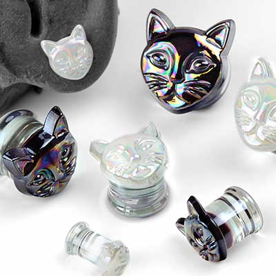Iridescent Glass Cat Plugs