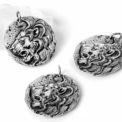 Silver Lion Coin Pendant