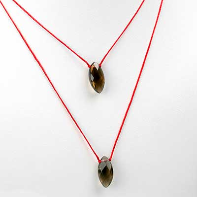 Silk and Marquise Smoky Quartz Necklace