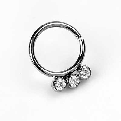 Titanium Seamless Ring with 3-Gem Cluster