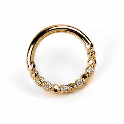 Solid 14K Gold Faceted Seamless Ring with Diamond