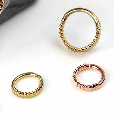 Solid 14K Gold Linear Seamless Ring