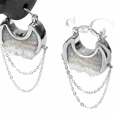 Silver Moonstruck Earrings with Agate Druzy
