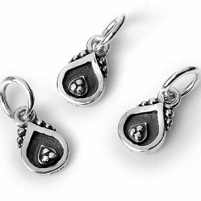 Silver Beaded Teardrop Pendant