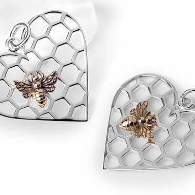 Silver Bee Heart Pendant