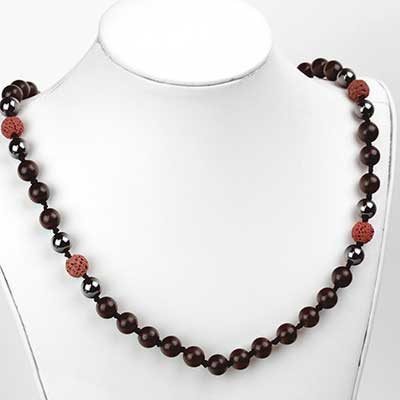 Hematite and Lava Mala Necklace