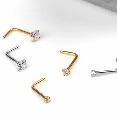 Steel Prong Set Gem Straight Nosescrew