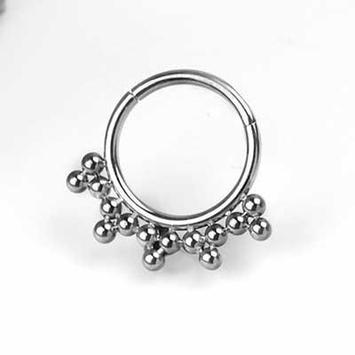Titanium 5 Tri Bead Cluster Clicker Ring