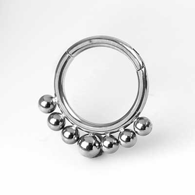 Titanium 7 Bead Clicker Ring