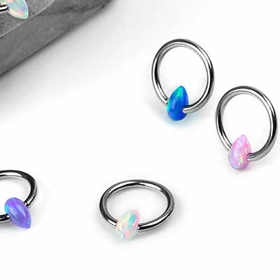 Titanium Captive with Teardrop Synthetic Opal