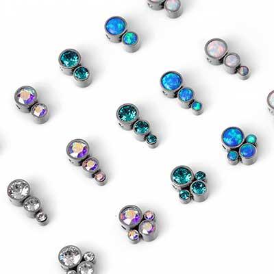 Titanium Bezel Set Cluster Captive Bead
