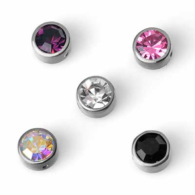 Titanium Bezel Set Gem Captive Bead