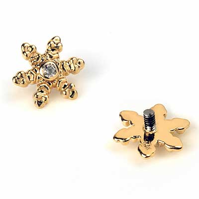 14k Gold Snowflake Threaded End