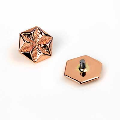 14k Gold Hex Star Threaded End