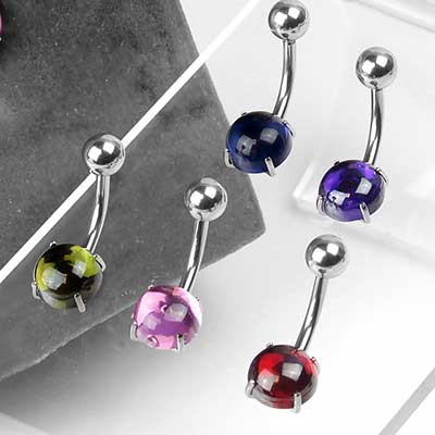 Steel Prong Set Cabochon Navel