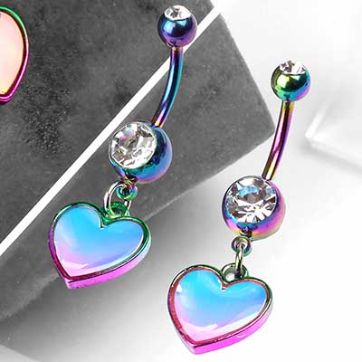 Rainbow and Hologram Heart Dangle Navel