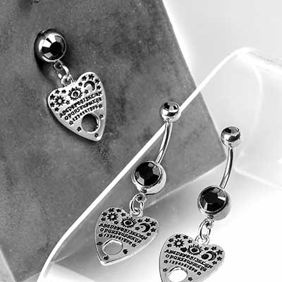 Steel Ouija Planchette Dangle Navel