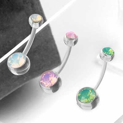 Faceted Opalite Acrylic Navel