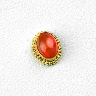 14k Gold Oval Threadless End with Genuine Fire Opal