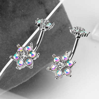 Iridescent Steel Flower Navel