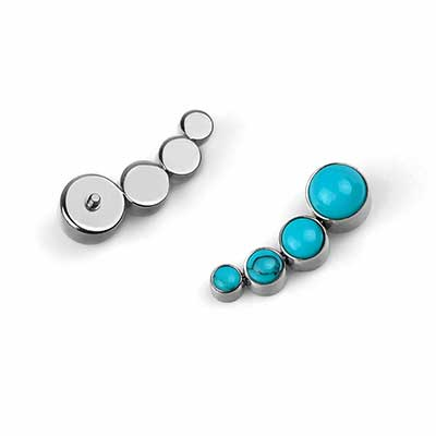 Titanium Threaded Bijoux End with Turquoise