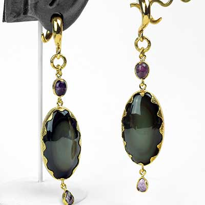 Rainbow Obsidian and Faceted Amethyst Dangle Weights