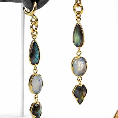 Solid Brass Faceted Labradorite and Moonstone Dangle Weights