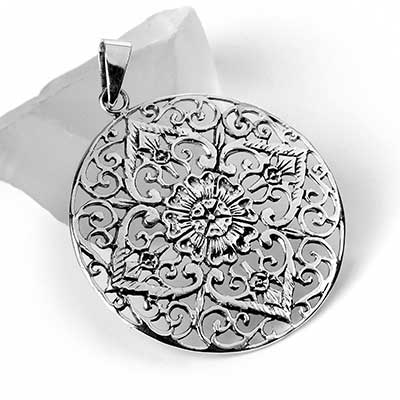 Silver Round Floral Pendant