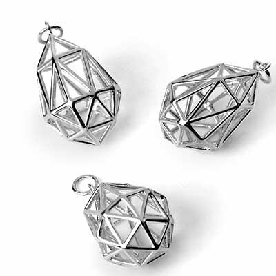 Silver Geodesic Teardrop Pendant