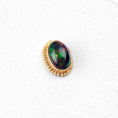 14k Gold Oval Threadless End with Black Opal