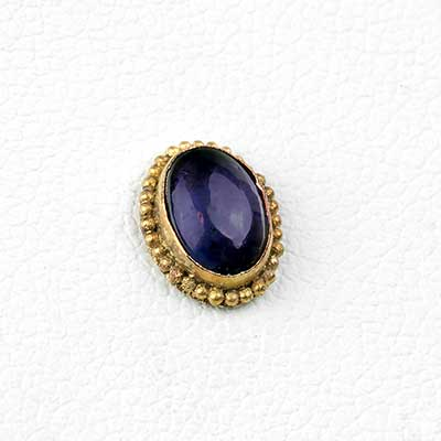 14k Gold Oval Threadless End with Iolite