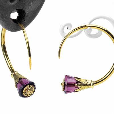 Solid Brass Tsabit Design with Purple Glass Flowers