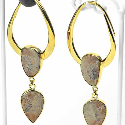 Solid Brass India Design with Fossilized Coral