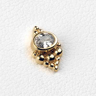14K Gold Beaded Cluster Threadless End