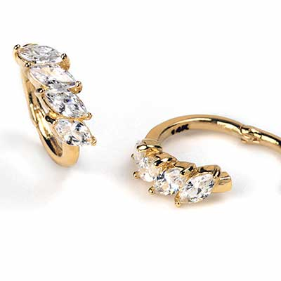 14K Gold Side Set Marquise Gem Clicker