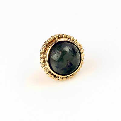 14k Gold Threadless End with Jade