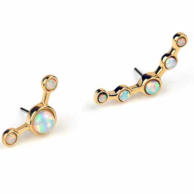 14K Gold Bezel Set Opal Threadless End