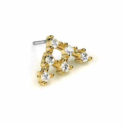 14K Gold Gemmed Crown Threadless End