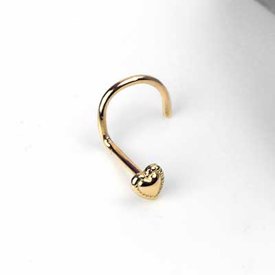 14K Gold Heart Nosescrew