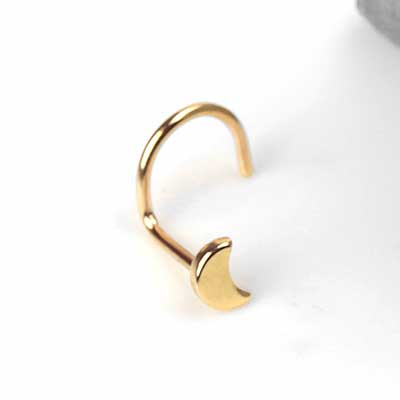 14K Gold Crescent Moon Nosescrew